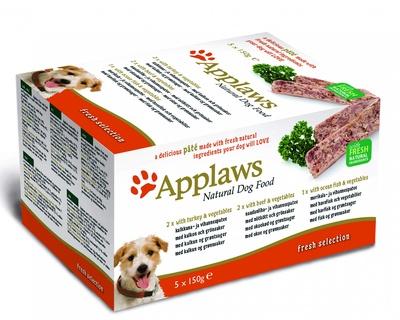 Applaws набор для собак Индейка, говядина, океаническая рыба: 5шт.x150г, Dog Pate MP Fresh Selection-Turkey, beef, ocean fish