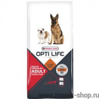 Opti Life 1кг Adult Digestion Medium & Maxi Для собак с чувствительным пищеварением с ягненком и рисом
