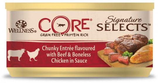 Wellness CORE SIGNATURE SELECTS 79г консервы из говядины с курицей, кусочки в соусе для кошек