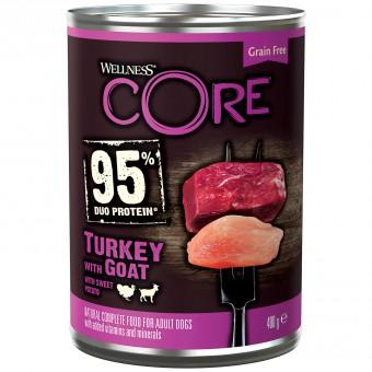 Wellness CORE 95 400г консервы из индейки с козлятиной и сладким картофелем для взрослых собак