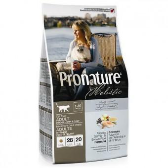 Pronature Holistic 5,44кг Adult indoor Сухой корм для взрослых кошек, для здоровья кожи и шерсти,лосось и коричневый рис
