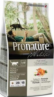 Pronature Holistic 2,72кг Adult indoor turkey cranberries Сухой корм для взрослых кошек живущих в помещении с индейкой и клюквой