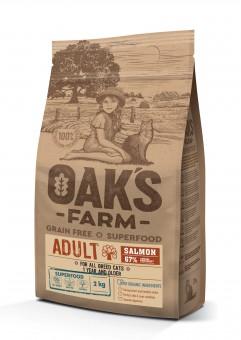 OAKS FARM Grain Free 2кг сухой корм для кошек, Лосось