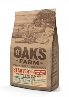 OAKS FARM Grain Free 2кг сухой корм для щенков до 4 мес. мелких и карликовых пород, Лосось и Криль