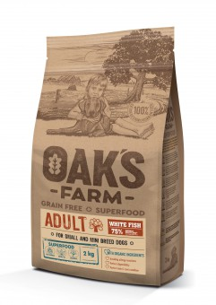 OAKS FARM Grain Free 2кг сухой корм для собак мелких и карликовых пород, Белая рыба