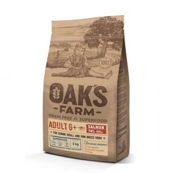 OAKS FARM 6,5кг Grain Free Adult 6+ Small and Mini Breeds Беззерновой сухой корм для пожилых собак старше 6 лет малых и мини пород Лосось
