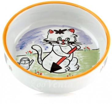 Beeztees Миска 275мл*14см для кошек фарфоровая с изображением кошки