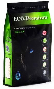 ECO Premium GREEN 20кг/55л комкующийся наполнитель древесный без запаха