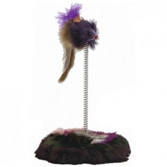 Beeztees 14,5*28см Игрушка для кошек Мышь меховая на пружине на мягкой подставке