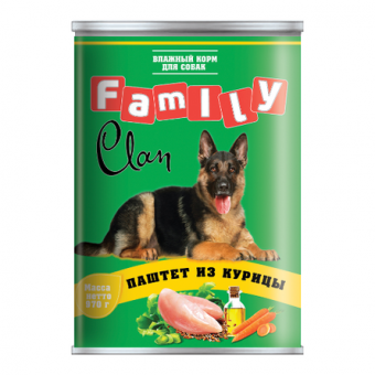 Clan Family 970 г Паштет для взрослых собак всех пород, с курицей