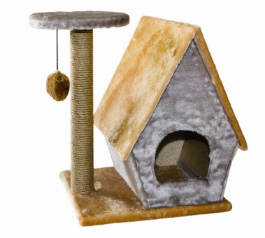 Домик Лесная избушка со столбиком и помпоном, сизаль, 62x43x55 см