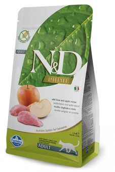 Farmina 0,3кг N&D Cat Grain Free Boar & Apple Adult Беззерновой корм для взрослых кошек кабан и яблоко