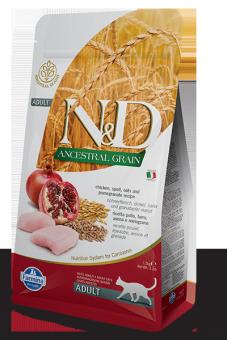 Farmina 300г N&D Low Grain Cat Chicken & Pomegranate низкозерновой сухой корм для взрослых кошек Курица и Гранат