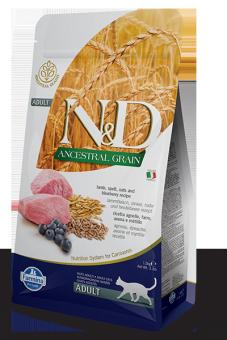 Farmina 1,5 кг N&D Low Grain Cat Lamb & Blueberry низкозерновой сухой корм для взрослых кошек Ягненок и Черника