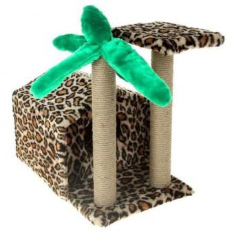 Иванко Домик-когтеточка Тропический дом с пальмой для кошек 33х55,5х55 см, сезаль