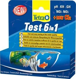 Тест 6 в 1 GH/kH/NO2/NO3/pH/Cl полоски для пресной воды 25шт