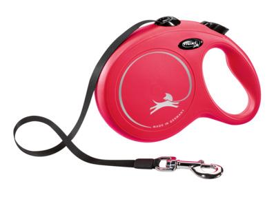 Flexi New Classic XS tape Рулетка-ремень для собак до 12кг, 3м красный