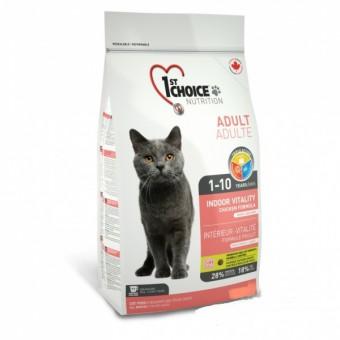 1st Choice 5,44 кг Indoor Vitality сухой корм для взрослых домашних кошек на основе курицы
