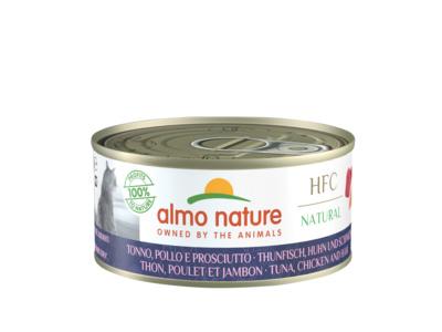 Almo Nature 140г консервы для кошек с тунцом, курицей и ветчиной, 50% мяса, HFC Natural - Tuna, Chicken and Ham