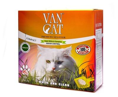 VAN CAT 10кг 100% Натуральный комкующийся наполнитель, без пыли, коробка