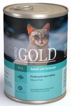Nero Gold 410г кусочки в желе для кошек Рыбный коктейль