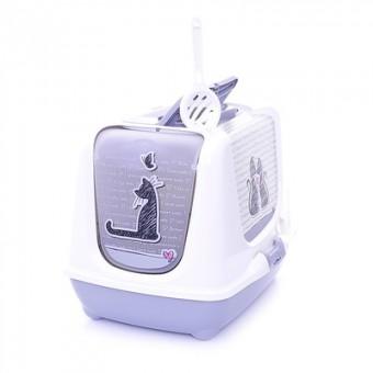 Moderna туалет-домик Trendy cat с угольным фильтром и совком, 57х45х43 Влюбленные коты