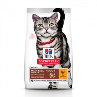 Hill's SP 1,5кг Indoor Cat Adult сухой корм для выведения шерсти из желудка у домашних кошек, с курицей, Hairball Indoor