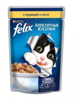 Felix 85г кусочки в желе для кошек с курицей