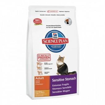 Hill's SP 1,5 кг Sensitive Stomach Adult Яйцо+рис, Сухой корм для взрослых кошек с чувствительным желудком