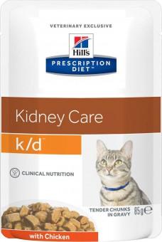 Hill's 85г PD Feline k/d Паучи для кошек при лечении почек (кусочки в соусе), Лосось