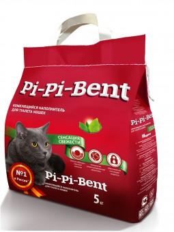 Pi-Pi Bent Fresh Sensation 10 кг (пакет) Сенсация свежести комкующийся наполнитель для кошачьего туалета (аромат свежих трав и цветов)