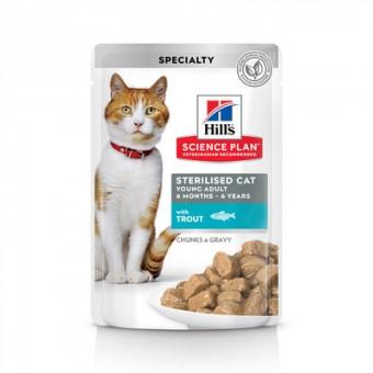 12шт Hill's 85г Sterilised with trout Паучи для кастрированных котов и кошек с форелью(1-7 лет)