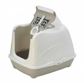 Moderna туалет-домик Jumbo с угольным фильтром, 57х44х41см, теплый серый, Flip cat 57 cm