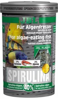 JBL Spirulina - Основной корм премиум для растительноядных аквариумных рыб, хлопья, 100 мл (16 г)