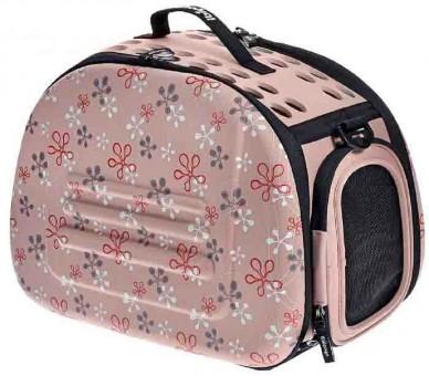 Ibiyaya складная сумка-переноска для собак и кошек до 6 кг бледно-розовая в цветочек