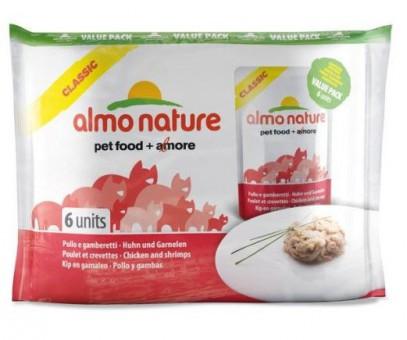 6шт Almo Nature 55гр Classic Nature Chicken&Shrimps Паучи для Кошек с Курицей и Креветками