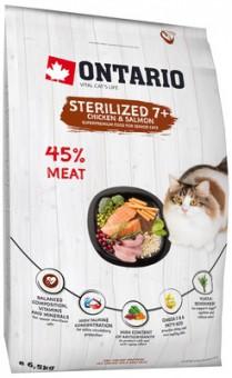 Ontario 2кг Cat Sterilised 7+ корм для пожилых стерилизованных кошек, с курицей