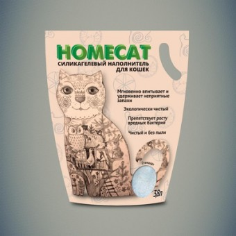Homecat силикагелевый наполнитель без запаха для кошачьих туалетов, 3,8л