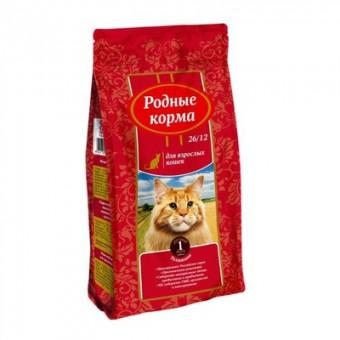 Родные корма 10 кг сухой корм для взрослых кошек, с телятиной
