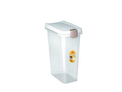 Stefanplast контейнер для корма, прозрачный с белой крышкой, 40л
