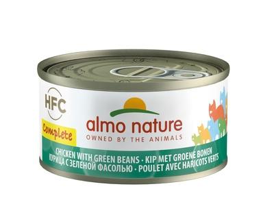 Almo Nature 70гр полнорационные консервы для кошек, с курицей и зелёной фасолью, Complete - Chicken with Green Beans