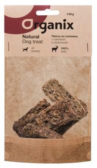 Organix 60г премиум лакомство для собак Чипсы из оленины с клюквой и облепихой