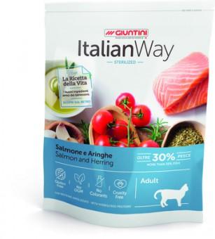 Italian Way 400г безглютеновый корм для стерилизованных кошек, с лососем и сельдью, Sterilized Salmon/Herrings