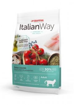 Italian Way 1,5кг безглютеновый корм для кошек, со свежей форелью и черникой, контроль веса и профилактика аллергии, Ideal Weight Trout/Blueberry