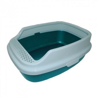 HOMECAT 53х39х23см Туалет De Luxe с бортиком, бирюзовый перламутр