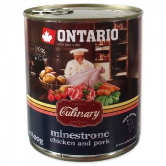 Ontario 0,8кг консервы для собак Минестроне с Курицей и Свининой