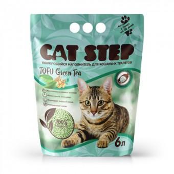 Cat Step 6л комкующийся растительный наполнитель Зелёный чай, Cat Step Tofu Green Tea