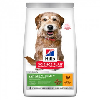 Hill's Science Plan 2,5кг сухой корм Senior Vitality для пожилых собак мелких пород старше 7 лет, с курицей и рисом, Youthful Vitality