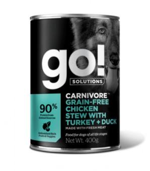 Go! 400гр беззерновые консервы с тушеной курицей, индейкой и мясом утки для собак, GO! Grain Free Chicken Stew with Turkey + Duck DF