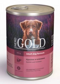Nero Gold 410г Rabbit and Venison консервы для собак, Кролик и оленина